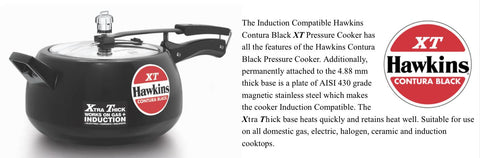 Hawkins Black Contura Pressure Cooker Induction Compatible (Cxt50)- 5 Litre