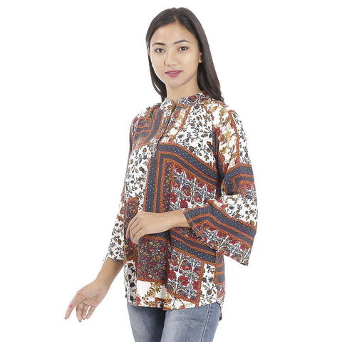 Bisesh Creation White Abstract Printed Mandarin Tunic For Women 2 pc