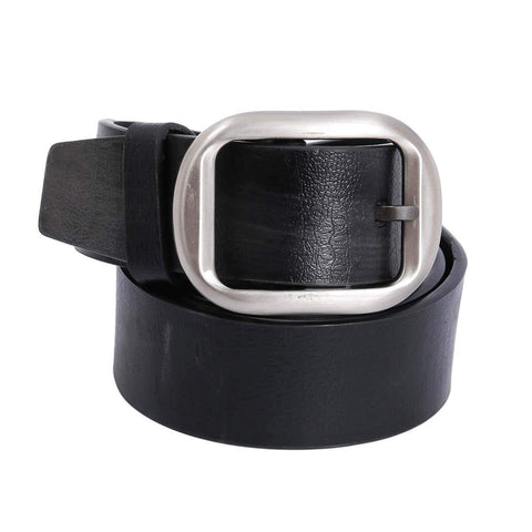 Black Plain Buckle Belt For Men