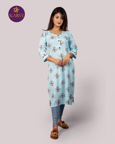 KARVI Blue Ethnic Printed Kurti for Women with Front Button price in Nepal