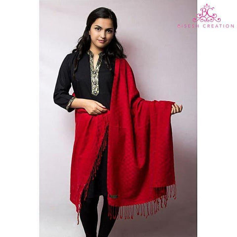 Bisesh Creation Red Chekered Acrylic Pashmina Shawl For Women