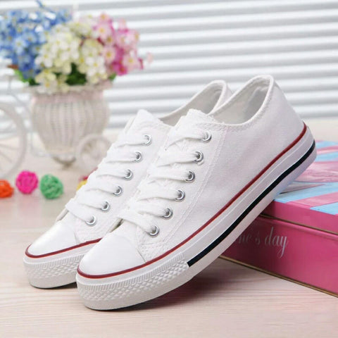 White Lace- Up Sneakers For Women