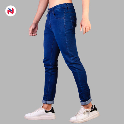 Nyptra Dark Blue Solid Non Stretch Premium Choose Jeans For Men price in nepal