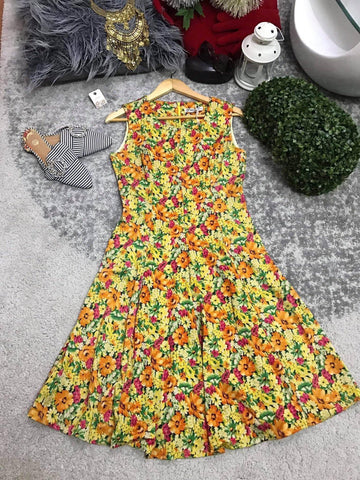 Yellow Floral Sleeveless Dress