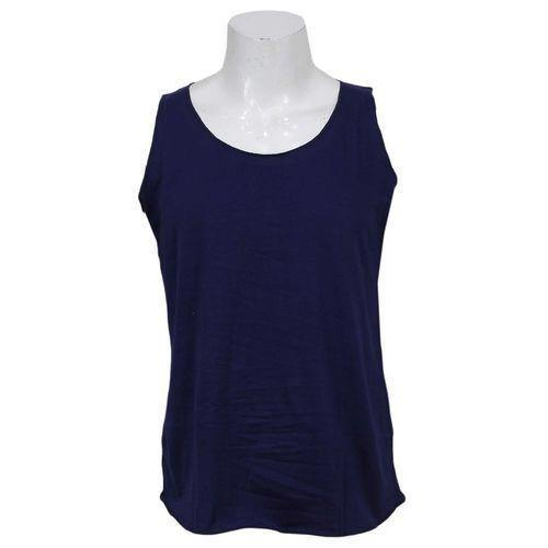 Navy Blue Solid Tank Top For Men