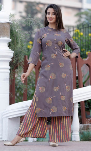 Rayon Straight Embroidery Kurti With Palazzo#Brown price in nepal