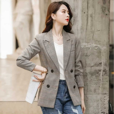 Women's Full Sleeve Double Button Notched Lapel Check Blazer by Attire Nepal