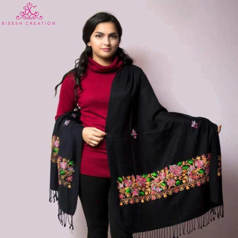 Black Kashmiri Embroidered Acrylic Pashmina Shawl For Women