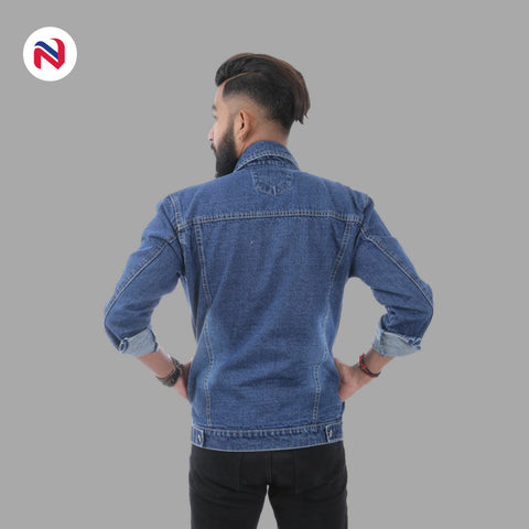 Nyptra Dark Blue Solid Denim Jeans Jacket For Men