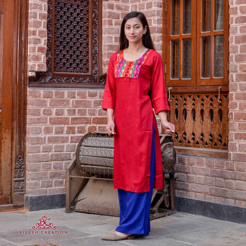 Bisesh Creation Maroon Ethnic Patchworked Kurti For Women