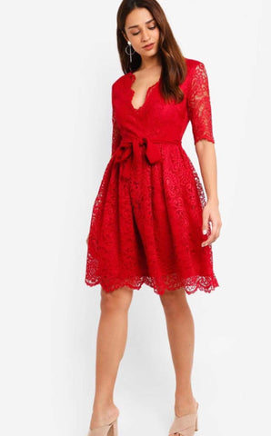 Red Lace Overlap Flare Dress price in nepal