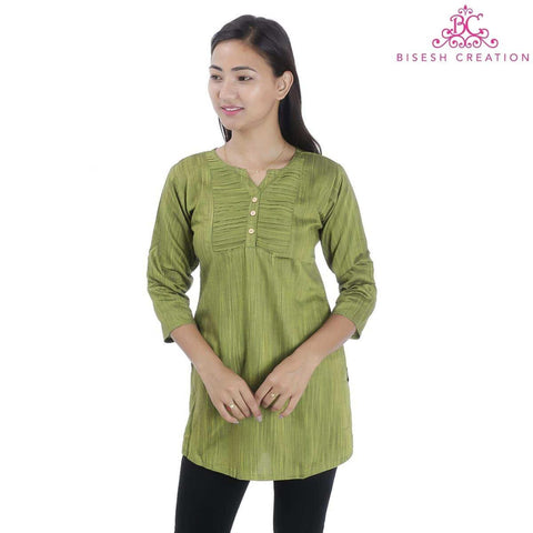 Emerald Green Pintuck designed Rayon Slub Top For Women
