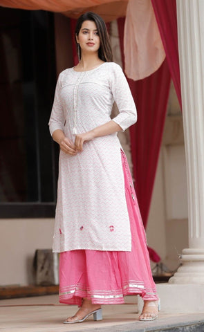Rayon Hand work Kurti With Cotton Sharara # White&Pink price in nepal
