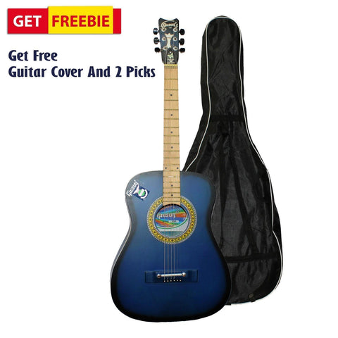 Matte Blue Medium Indian Guitar With Free Cover And 2 Picks