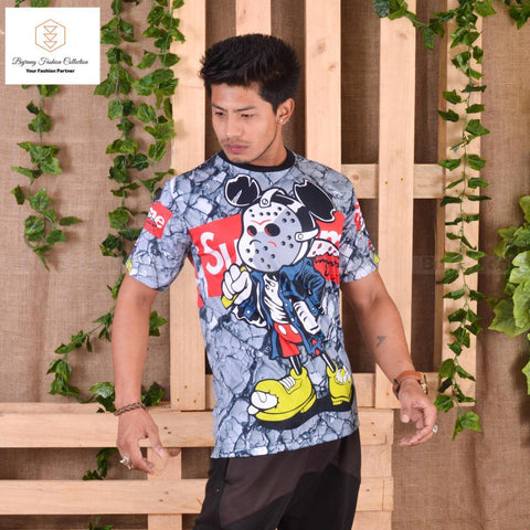 3D Printed Short Sleeved Casual O Neck Slim Fit T-shirt For Men By Bajrang