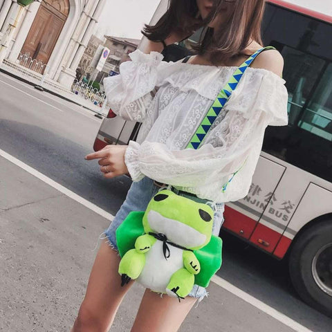 Green Plush Frog Japanese Cartoon Art Schoolbag Stuffed Animal Toy Shoulder Bag price in Nepal