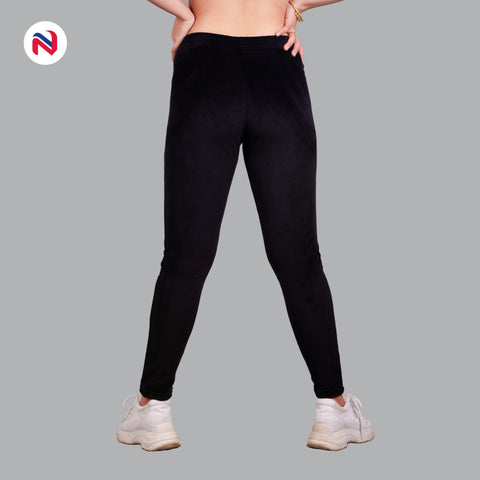Nyptra Black Plain Velvet High Rise Fancy Leggings For Women