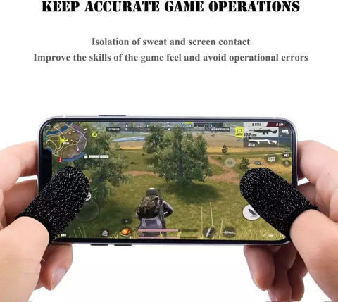 Mobile Game Controller Finger Sleeve Sets , Anti-Sweat Breathable Full Touch Screen Sensitive Shoot Aim Joysticks Finger Set for PUBG/Knives Out/Rules of Survival-Black price in nepal