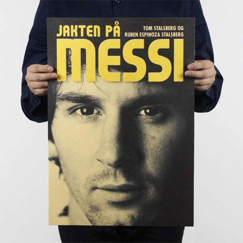 Football Star Lionel Messi Design Vintage Kraft Paper Wall Decal