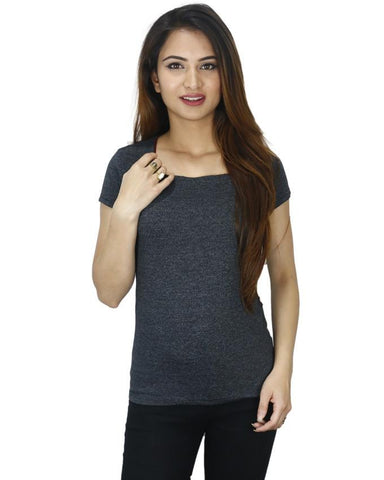 Black Dotted Maroon Lined Cotton T-Shirt For Women price in nepal