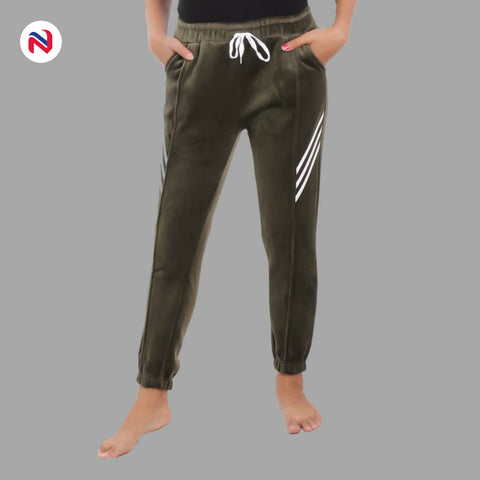 Nyptra Green Velvet Stripes Inner Fleece Joggers For Women price in nepal
