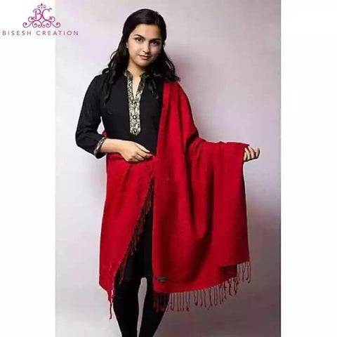 Bisesh Creation Red Chekered Acrylic Pashmina Shawl For Women price in nepal