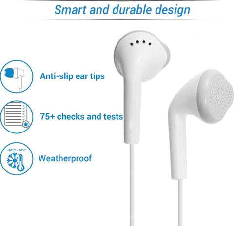 YS Earphones with Ultra Bass & Dolby Sound 0.33mm Jack for All Samsung/Anroid/ iOS Devices - (White)