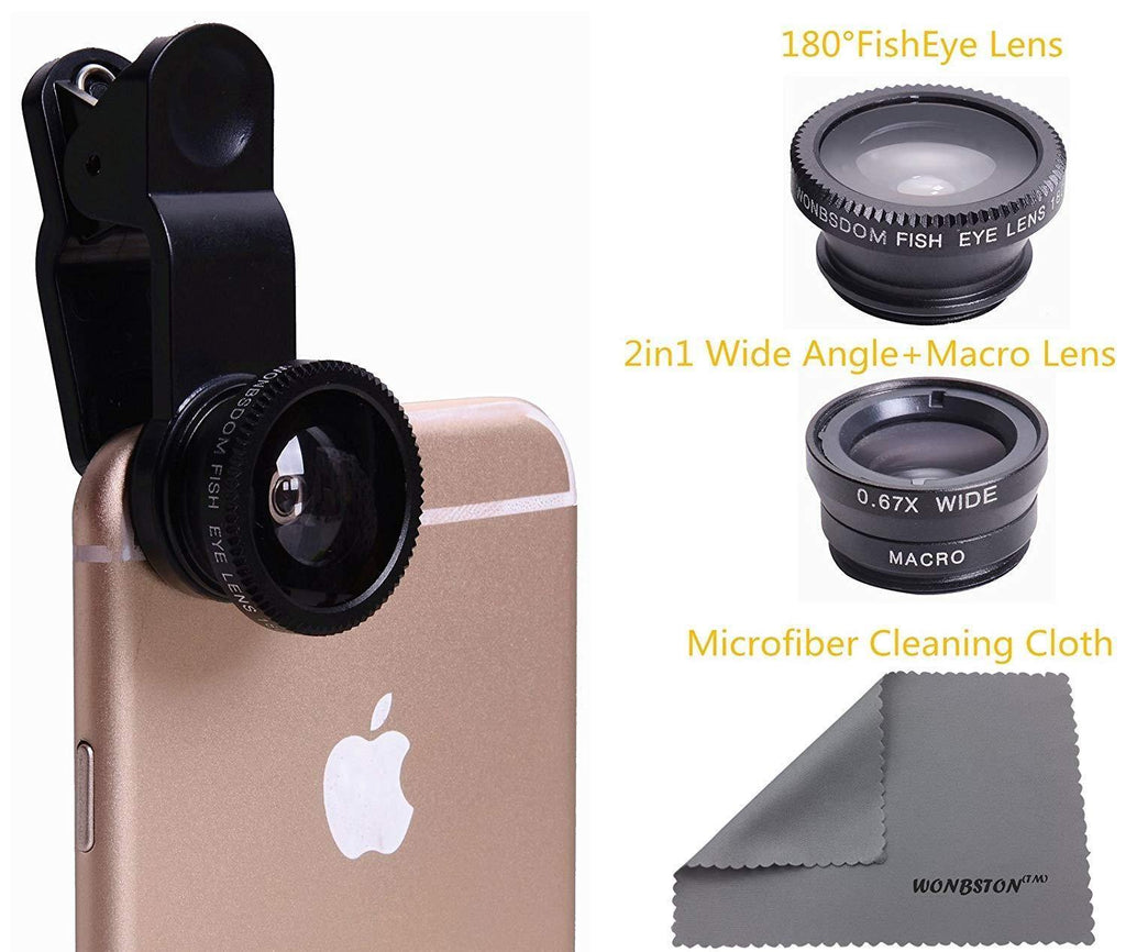 3 in 1 Universal Clip-On Lenses Kit (Black) With FishEye Lens+Macro+Wide Angle Lens