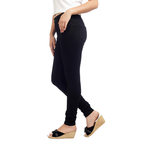 Women's High Waist Skinny Fit Black Denim Pants by Attire Nepal