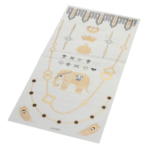 Crown Elephant Chain Gold Silver Metallic Temporary Tattoos Sticker Decal Body Art price in Nepal