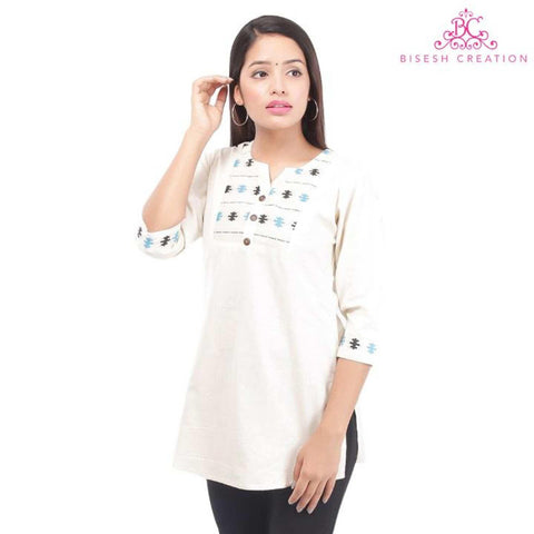 Off White Ethnic Printed Linen Tunic For Women
