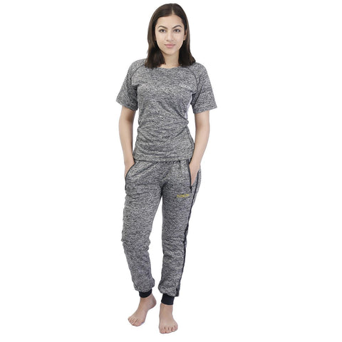 Knitted Cotton Sports Winter t-Shirt & Jogger Set For Women