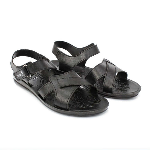 Black Velcro Strapped Sandals For Women (902)