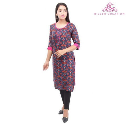Bisesh Creation Navy/Pink Floral Printed Front Buttoned Kurti For Women