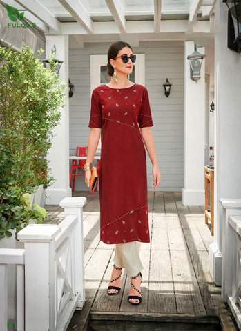 Maple Cotton designer embroidered Kurti Only Maroon price in nepal