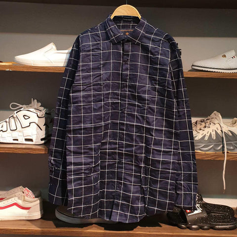 Dark Blue Check Lining Summer Shirt For Men