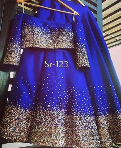 Blue Print Designer Semi Stitched Gown
