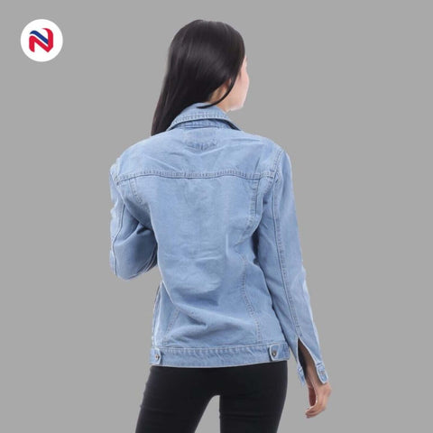 Nyptra Light Blue Solid Plain Long Denim Jacket For Women