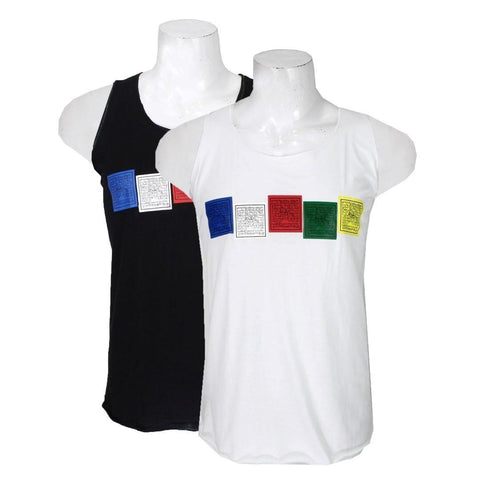 Pack Of Two Tibetan Prayer Flag Printed Tank Top For Men – Black/White