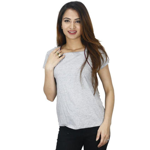 Grey Maroon Lined Cotton T-Shirt For Women price in nepal