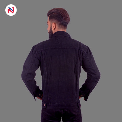 Nyptra Black Solid Denim Jeans Jacket For Men