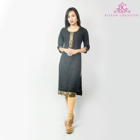Bisesh Creation Black Slub Rayon Lace Bordered Kurti For Women- BC 913