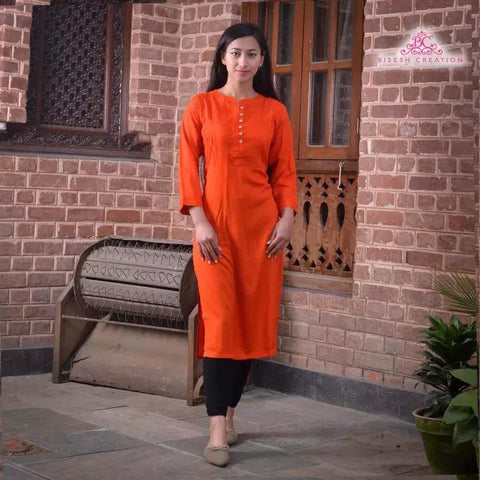 Bisesh Creation Orange Ethnic Design Solid Kurti For Women