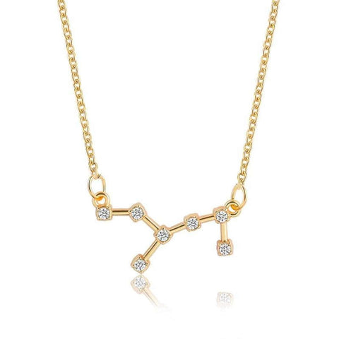 Gold Toned Virgo Twelve Constellation Pattern Zodiac Sign Necklace For Women price in Nepal