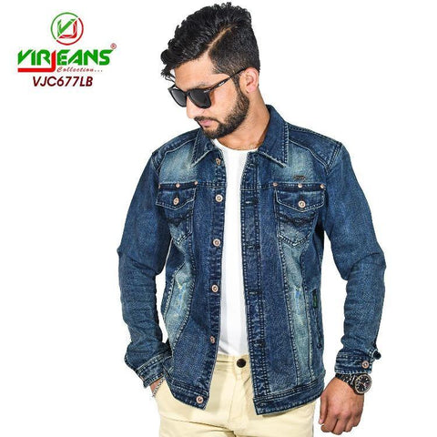 Virjeans Denim (Jeans) Non-Stretchable Jacket For Men (Vjc 677)
