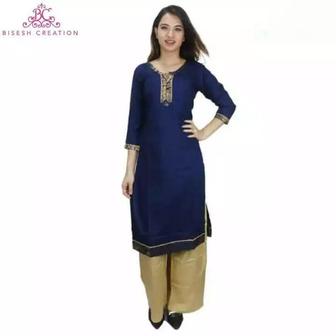 Bisesh Creation Navy Blue/Beige Bordered Laced Kurti With Palazzo For Women Price in nepal