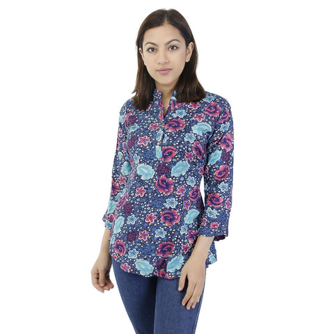 Blue Printed Rayon Top For Women