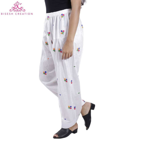 White Chikan Panjabi Shalwar For Women