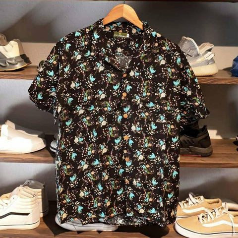 Black Floral Leaves Summer Over Size Collar Half Shirt For Men