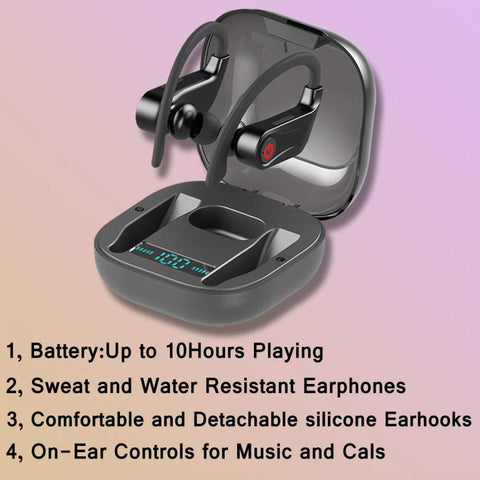Tws Hbq Pro Wireless Bluebooth Earbuds V5.0 Stereo Sport Ear Hook Earbuds 950Mah Waterproof Headsets Hd Mic